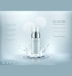 cosmetic bottles with water splashing background vector image