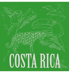 Costa Rica national symbols Dolphins jaguar toucan vector