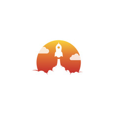 creative orange sun rocket cloud logo vector image