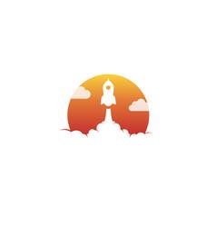 Creative orange sun rocket cloud logo vector