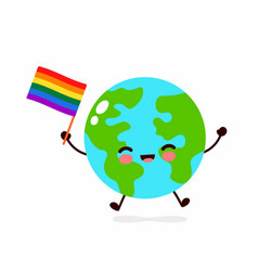 Cute funny smiling happy earth planet vector