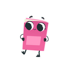 cute pink book or notebook cartoon character vector image