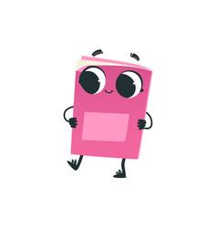 Cute pink book or notebook cartoon character vector