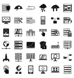 Database icons set simple style vector