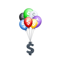 different colored balloons carrying dollar sign vector image