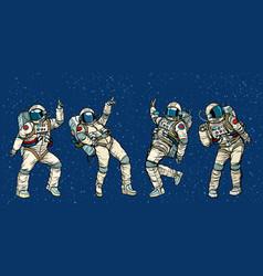 Disco party astronauts dancing men and women vector