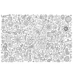 doodle cartoon set nautical objects and vector image