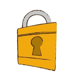 Drawing padlock lock security money bank vector