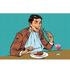 Elegant retro man eats in the restaurant and vector