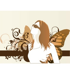 fashion model butterfly vector image vector image