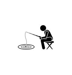 fisherman icon black on white background vector image