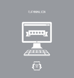 five stars rating computer - flat minimal icon vector image