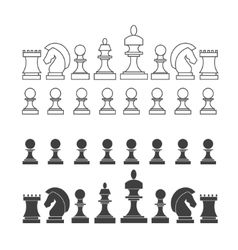 Flat and thin line chess pieces set vector