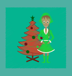 Flat shading style icon christmas girl and fir vector