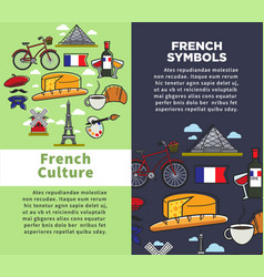 French culture and symbols travel agency brochures vector