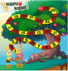 Game template with rabbits and apple tree vector