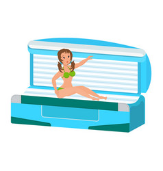 Girl engaged caring for body in solarium vector