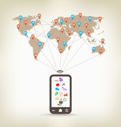Global smartphone communication concept stock vector