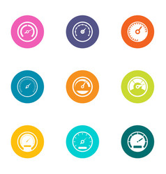Greater speed icons set flat style vector