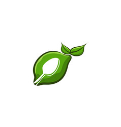green lime and spoon food healthy logo designs vector image