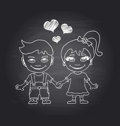 Hand draw loving boy and girl on black chal vector