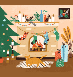 Hand drawn cozy interior with christmas tree vector