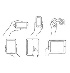 hand holding phone camera tablet vector image
