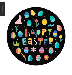 Happy easter lettering dark round vector
