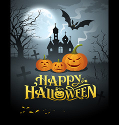 happy halloween pumpkin message vector image