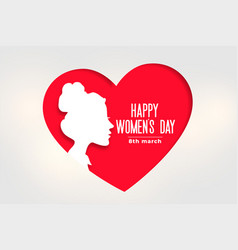 Happy womens day banner with face and heart vector