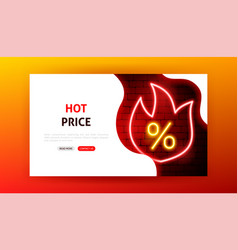 hot price sale neon landing page vector image