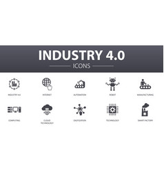 Industry 40 simple concept icons set contains vector