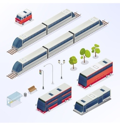 Isometric City Urban Elements Isometric Bus vector