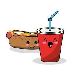 kawaii hot dog soda straw image vector image