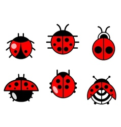 Ladybugs and beetles icons set vector