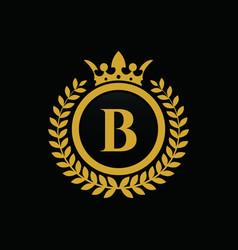 Letter b crown logo vector
