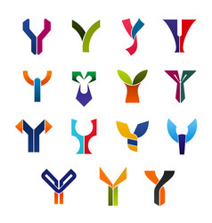 Letter y abstract business icons or symbols vector