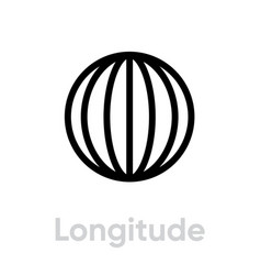 Longitude from pole to pole meridians icon vector