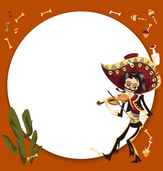man in sombrero playing on violin poster vector image