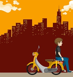Man on scooter in the city vector image