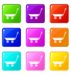 market trolley icons set 9 color collection vector image