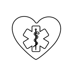 Monochrome contour of heart with health symbol vector