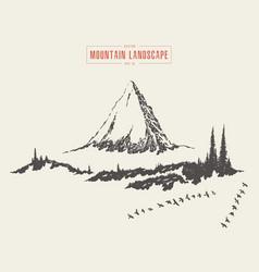 Mountain landscape fir forest drawn sketch vector