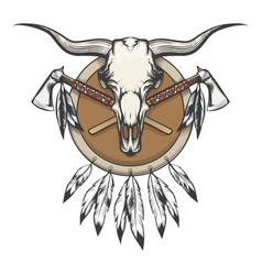 Native americans emblem with bull skull vector