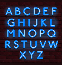 Neon banner blue color alphabet font bricks wall vector