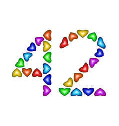 Number 42 forty two of colorful hearts on white vector