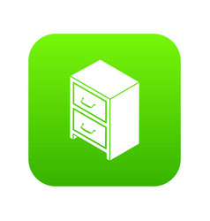 office chest of drawers icon green vector image