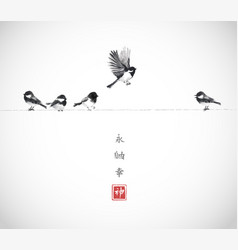 one bird flying and four little birds sitting on a vector image