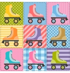 Patchwork background with colorful roller skates vector