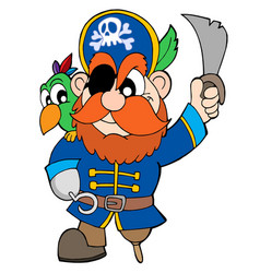 pirate with sabre and parrot vector image